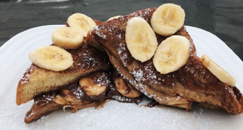 French Toast Topped with Banana Slices and Nutella